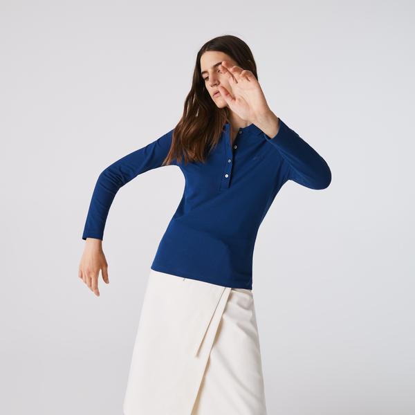 Lacoste Kadın Uzun Kollu Mavi Polo