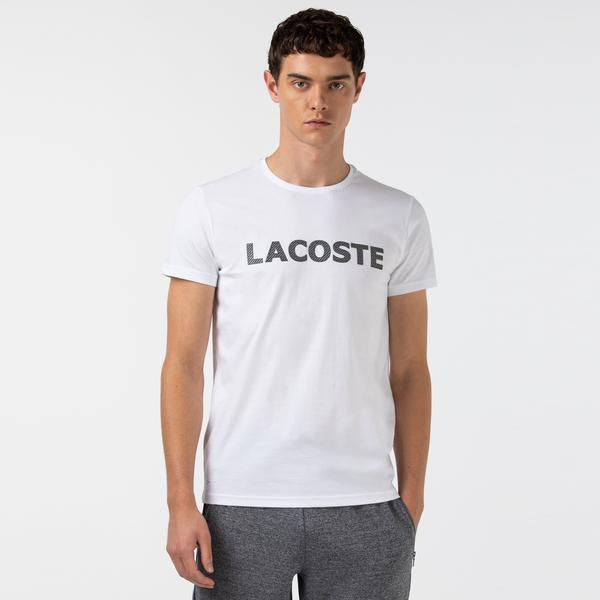 Lacoste Erkek Baskılı Bisiklet Yaka Beyaz T-Shirt