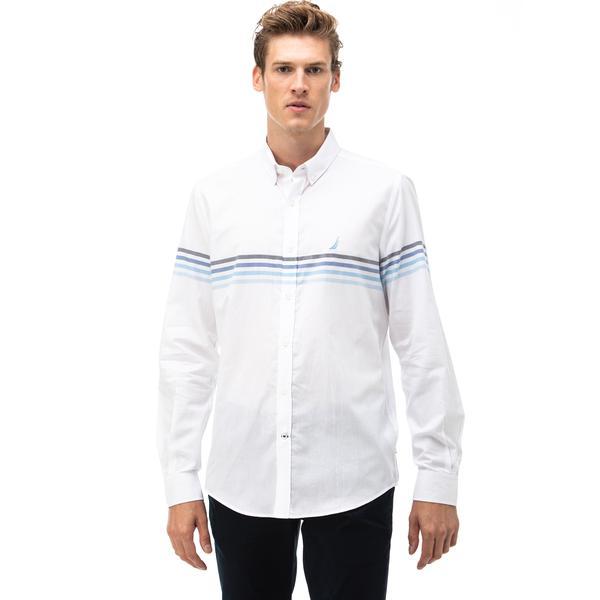 Nautica Erkek Beyaz Çizgili Slim Fit Gömlek
