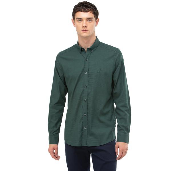 Nautica Erkek Yeşil Slim Fit Ekose Gömlek