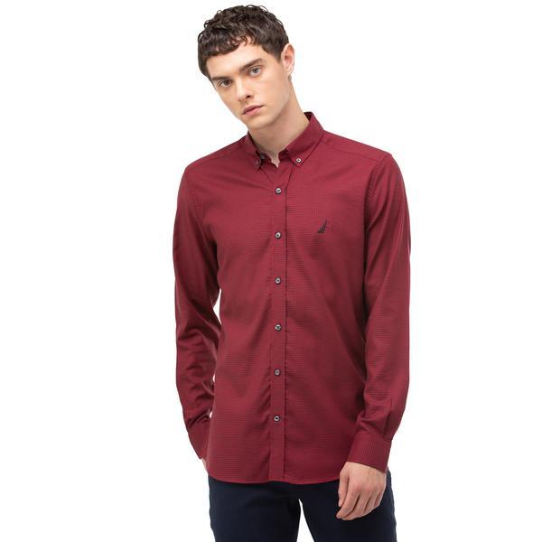 Nautica Erkek Kırmızı Slim Fit Ekose Gömlek