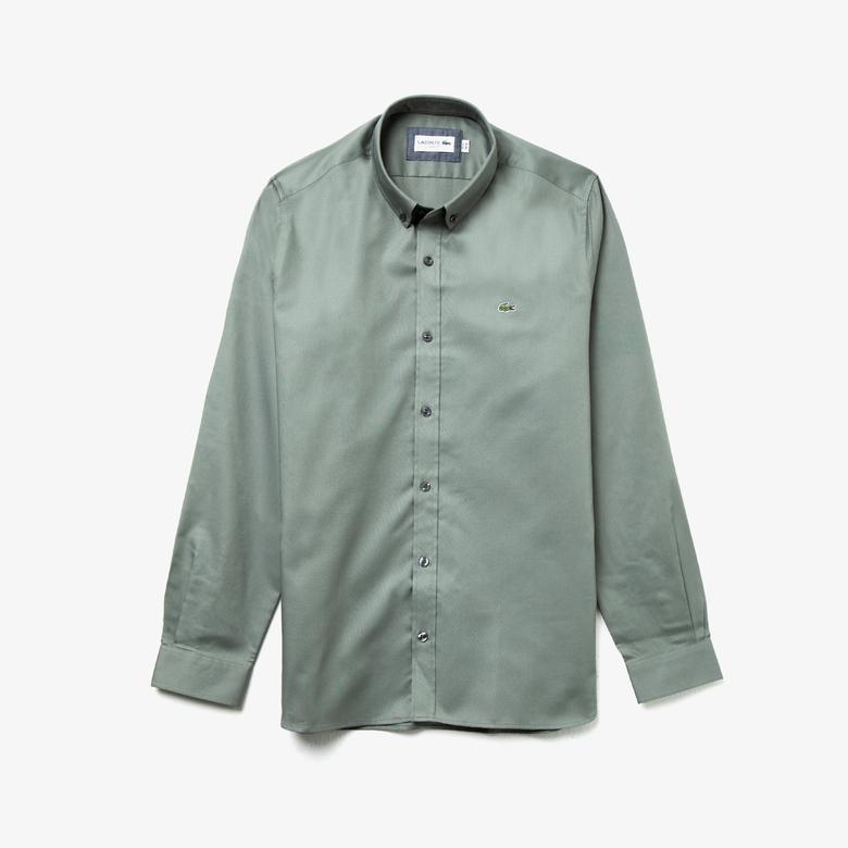 Lacoste Erkek Slim Fit Düğmeli Yaka Haki Gömlek