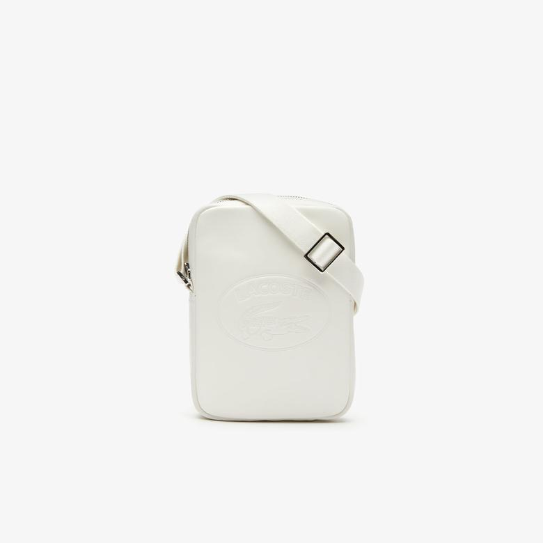 Lacoste L.12.12 Cuir Deri Timsah Baskılı Beyaz Kamera Çantası