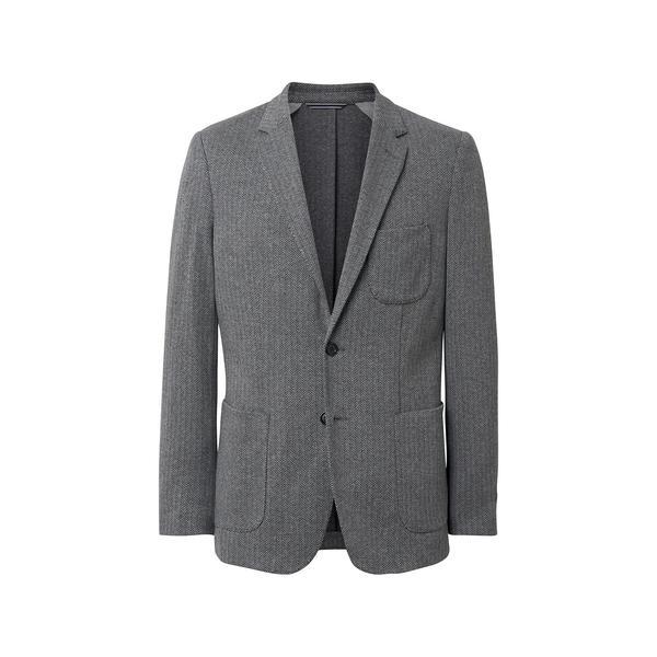 Erkek Gri Slim Herringbone Blazer Ceket