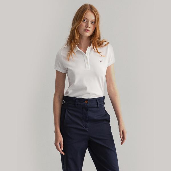 GANT Kadın Beyaz Regular Fit Pique Polo