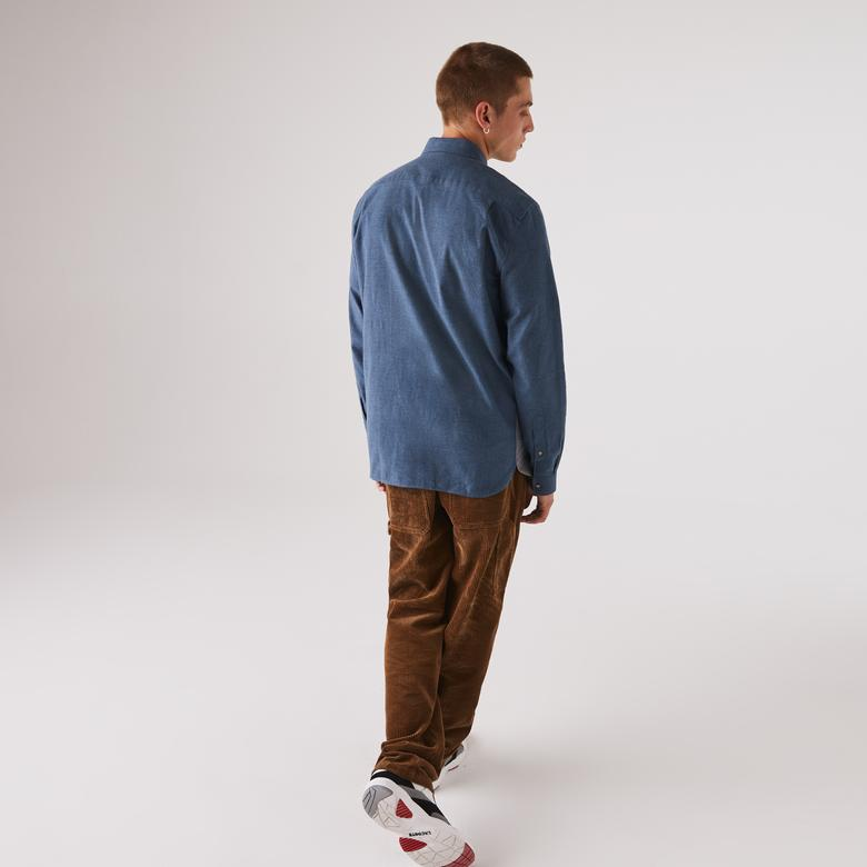 Lacoste Erkek Regular Fit Blok Desenli Mavi Gömlek
