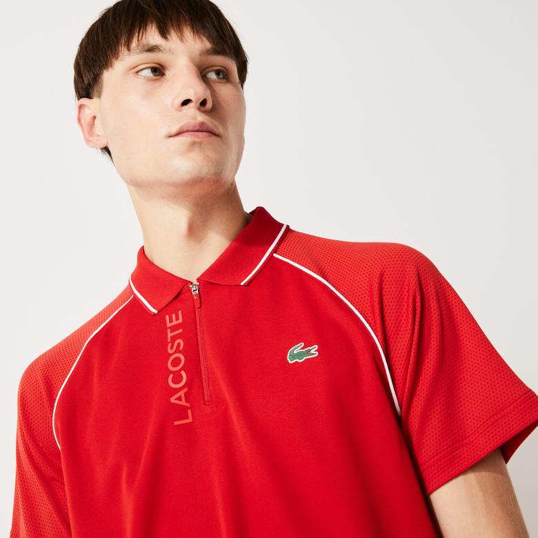 Lacoste Sport Fermuarlı Yaka Baskılı Erkek Kırmızı Polo