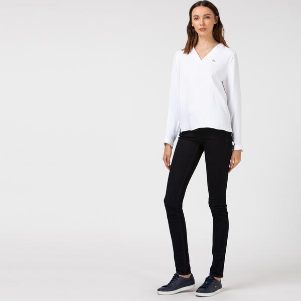 Lacoste Kadın Slim Fit Lacivert Denim Pantolon