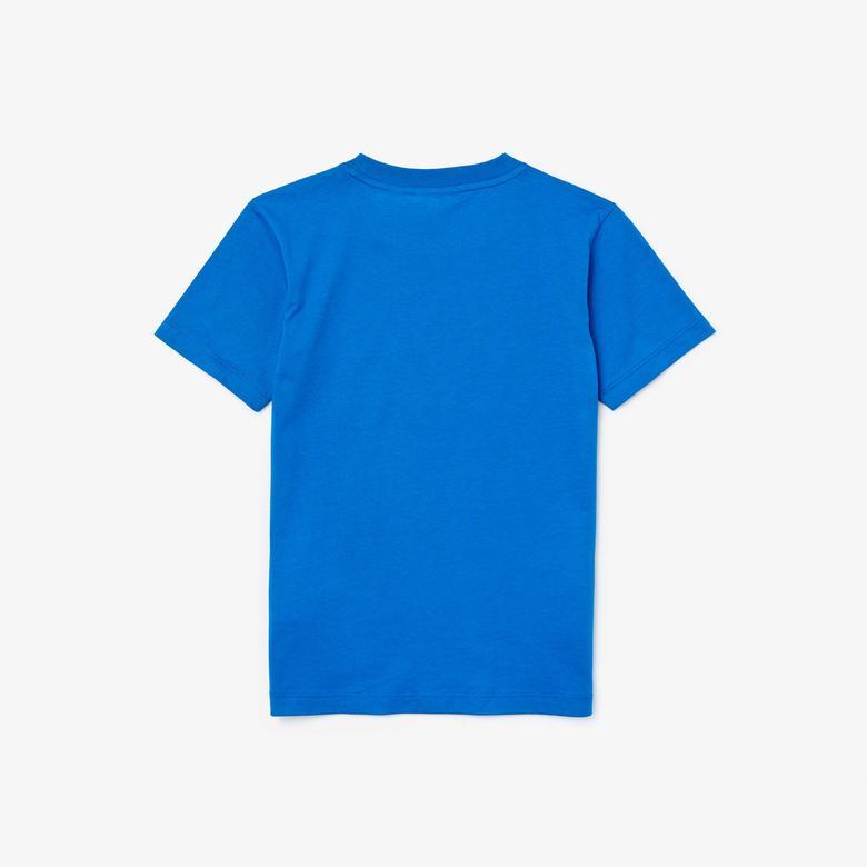 Lacoste Çocuk Baskılı Bisiklet Yaka Kısa Kollu Mavi T-Shirt