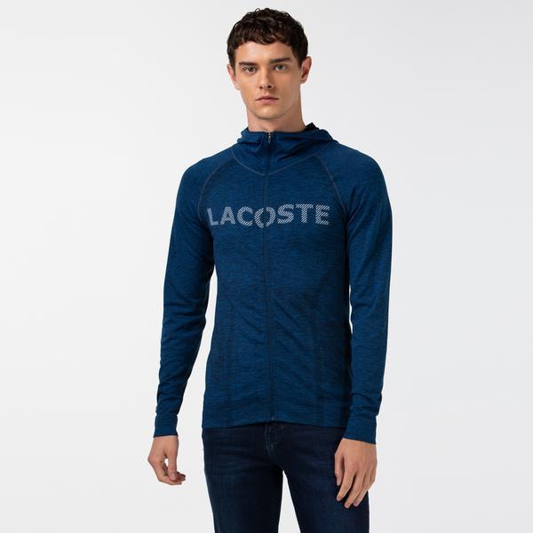 Lacoste Erkek Baskılı Fermuarlı Lacivert Sweatshirt