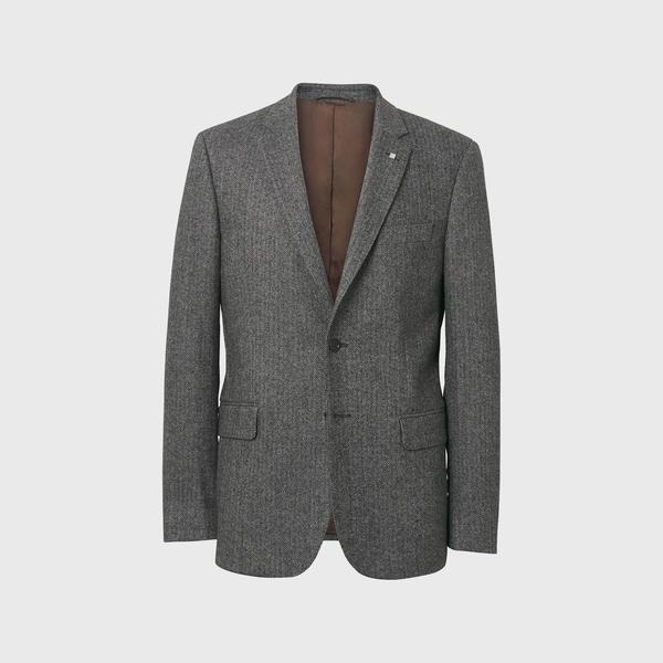 Gant Erkek Gri Herringbone Blazer Ceket