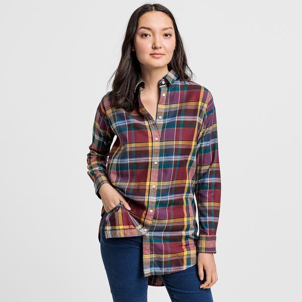 GANT Kadın Bordo Kareli Relaxed Fit Gömlek
