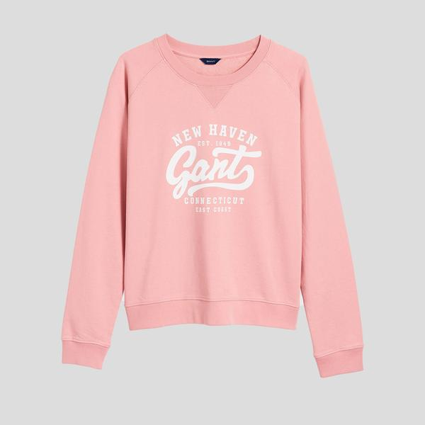 Gant Kadın Pembe Regular Fit Logolu Sweatshirt