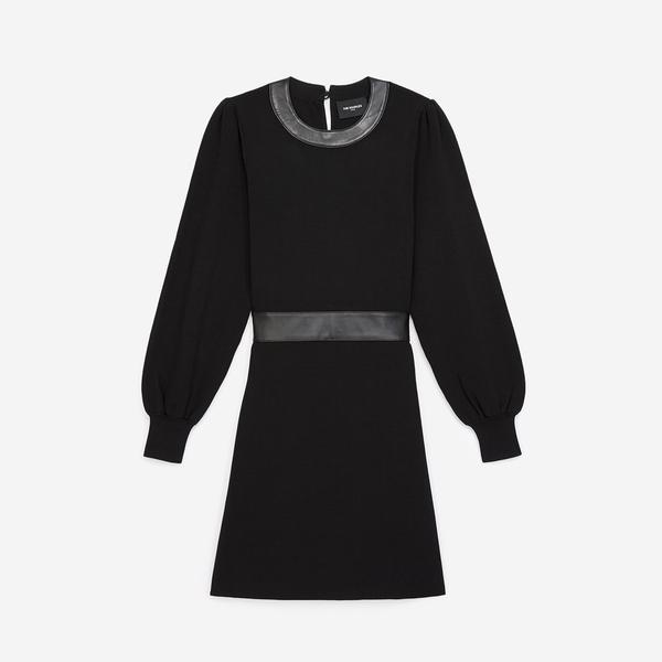 The Kooples Kadın Örme Siyah Bisiklet Yaka Elbise