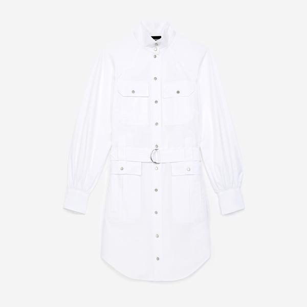 The Kooples Kadın Kemerli Beyaz Boğazlı Yaka Elbise
