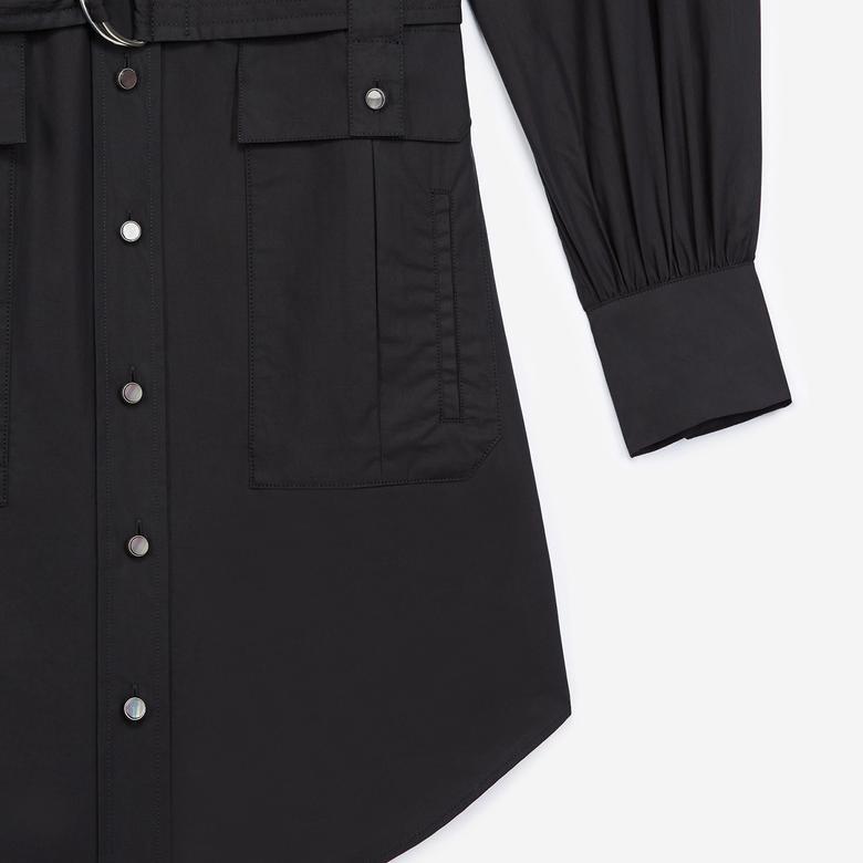 The Kooples Kadın Kemerli Siyah Boğazlı Yaka Elbise