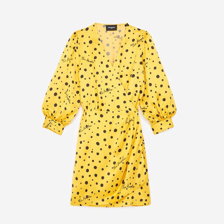 The Kooples Puantiyeli Kadın Sarı V Yaka Elbise