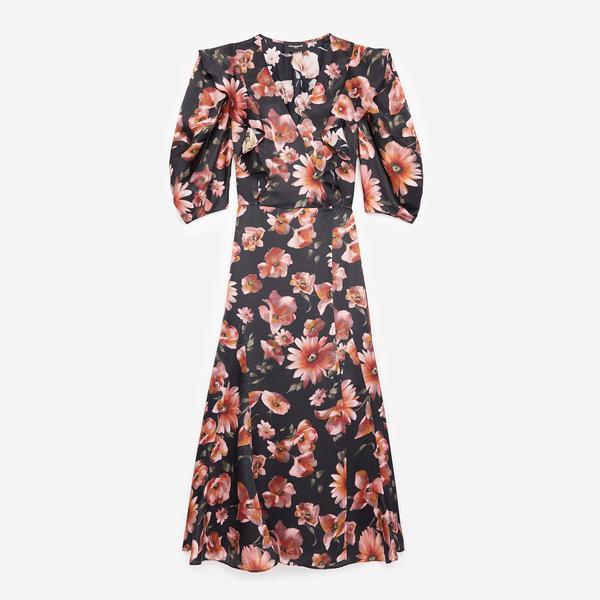 The Kooples Çiçek Desenli Kadın V Yaka Elbise
