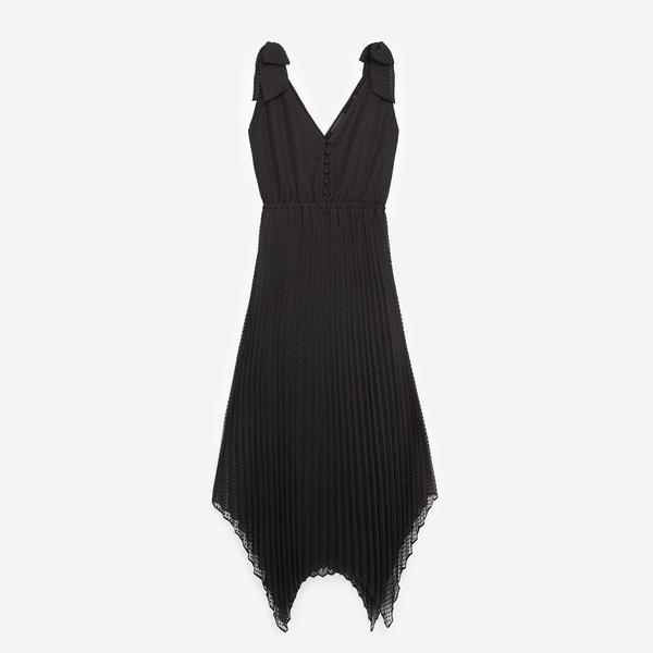 The Kooples Pileli Askılı Kadın Siyah V Yaka Elbise