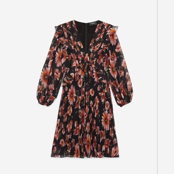 The Kooples Çiçek Desenli Pileli Kadın Elbise