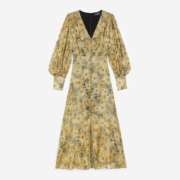The Kooples Kadın Uzun Düğmeli Siyah V Yaka Elbise