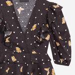 The Kooples Kelebek Desenli Kadın Siyah V Yaka Bluz