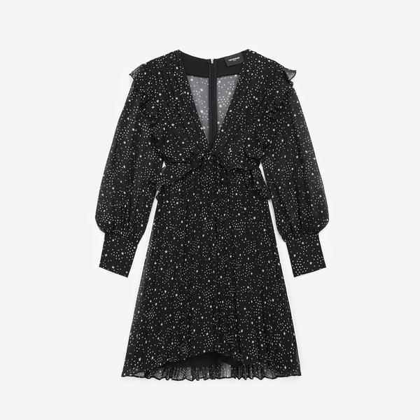 The Kooples Yıldız Baskılı Kadın Siyah V Yaka Elbise