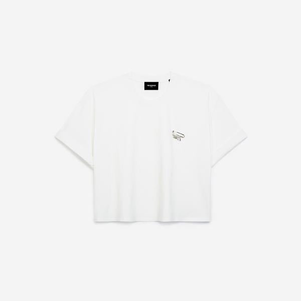 The Kooples Kadın Beyaz Bisiklet Yaka T-Shirt