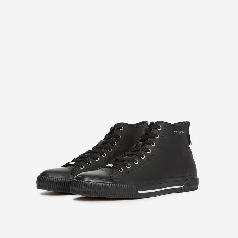 The Kooples Erkek Siyah Yumuşak Hıgh-Top Deri Sneaker