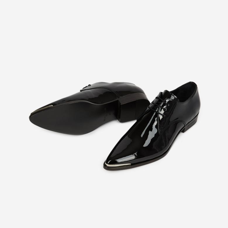 The Kooples Kadın Siyah Rugan Deri Derby Ayakkabı