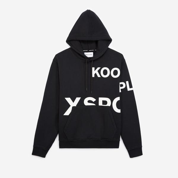 The Kooples Beyaz Logolu Erkek Siyah Kapüşonlu Sweatshırt