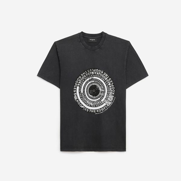 The Kooples Basklılı Erkek Siyah T-Shirt