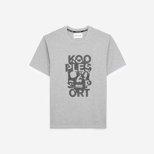 The Kooples Basklılı Erkek Gri T-Shirt