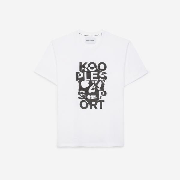 The Kooples Basklılı Erkek Beyaz T-Shirt