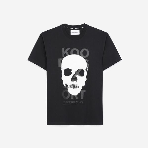 The Kooples Kurukafa Baskılı Erkek Siyah Bisiklet Yaka T-Shirt
