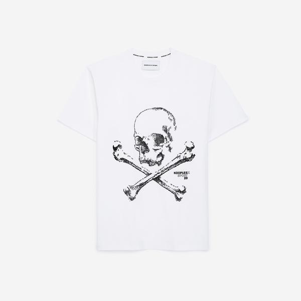 The Kooples Kurukafa Baskılı Erkek Gri Bisiklet Yaka T-Shirt