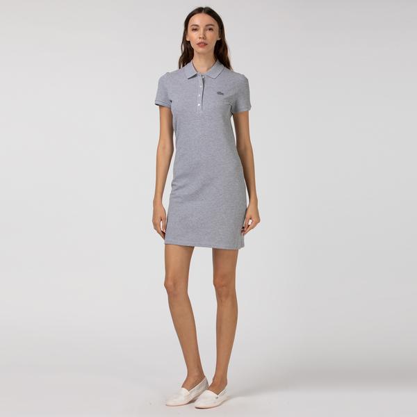 Lacoste Kadın Gri Polo Yaka Elbise