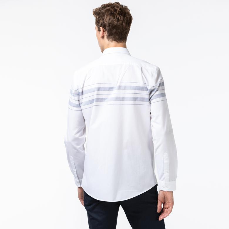 Lacoste Erkek Slim Fit Blok Desenli Beyaz Gömlek