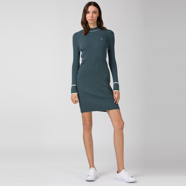 Lacoste Kadın Dik Yaka Uzun Kollu Haki Elbise