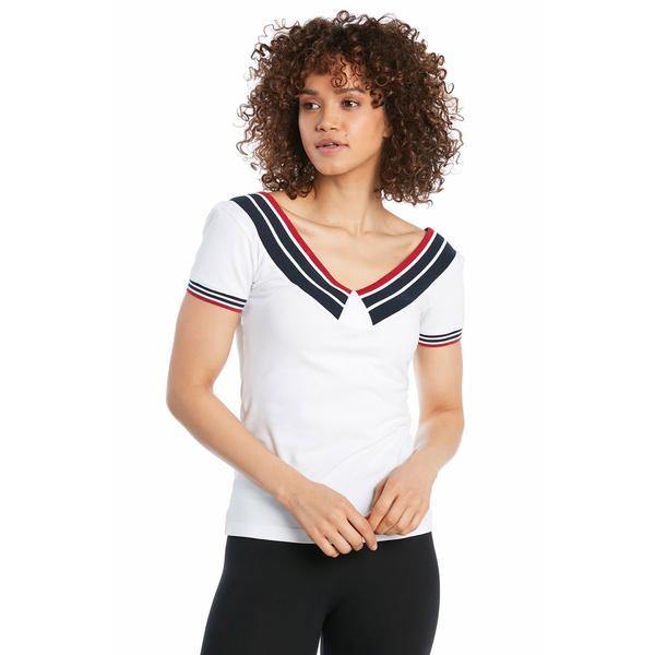 Ruck&Maul Kadın Slim Fit Beyaz T-Shirt