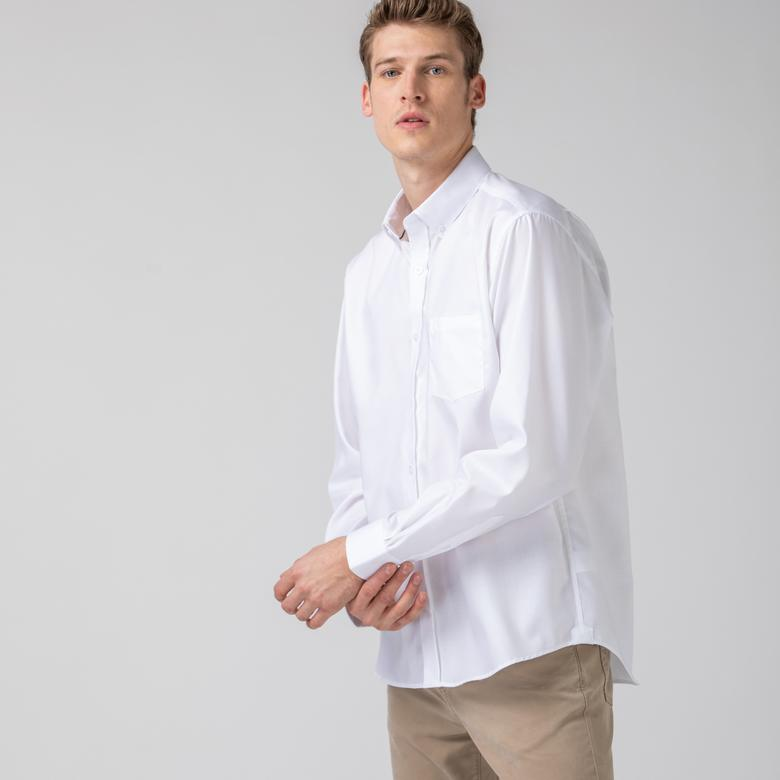 Lacoste Erkek Regular Fit Düğmeli Yaka Beyaz Gömlek
