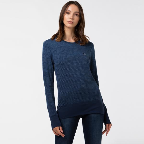 Lacoste Kadın Bisiklet Yaka Uzun Kollu Lacivert T-Shirt