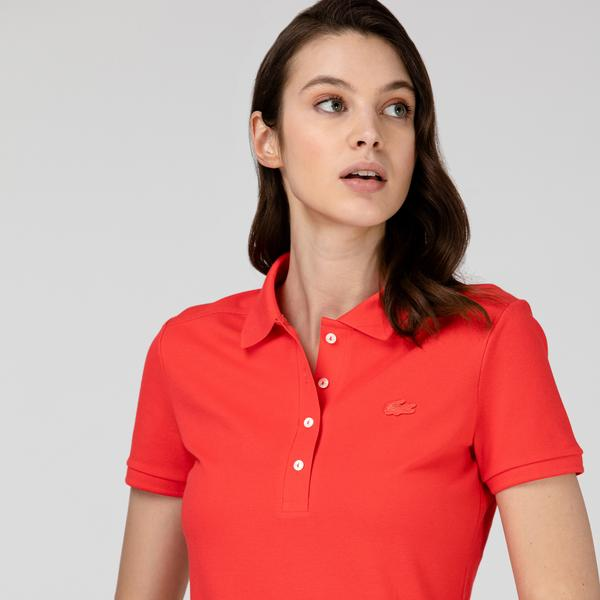 Lacoste Kadın Kırmızı Polo Yaka Elbise