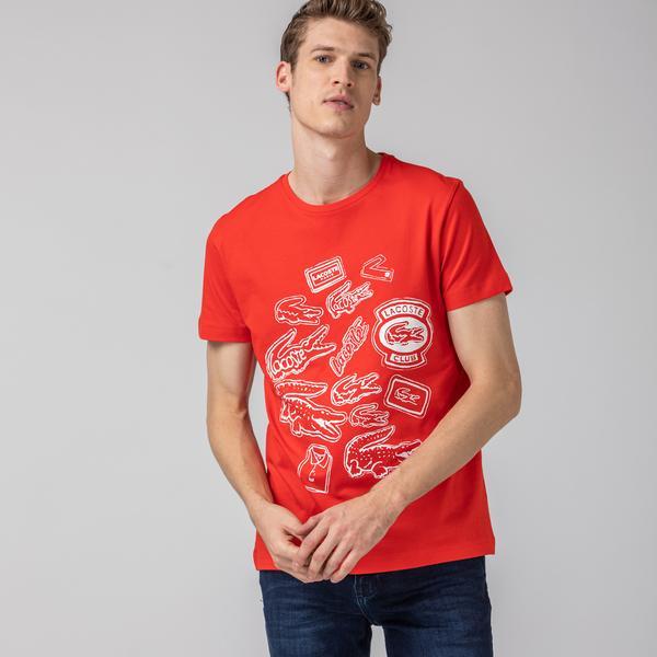 Lacoste Erkek Baskılı Bisiklet Yaka Kısa Kollu Kırmızı T-Shirt