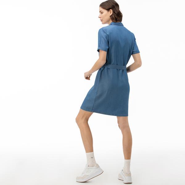 Lacoste Kadın Mavi Gömlek Elbise