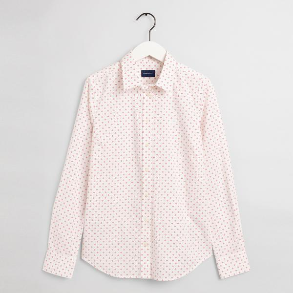 GANT Kadın Beyaz Desenli Slim Fit Gömlek