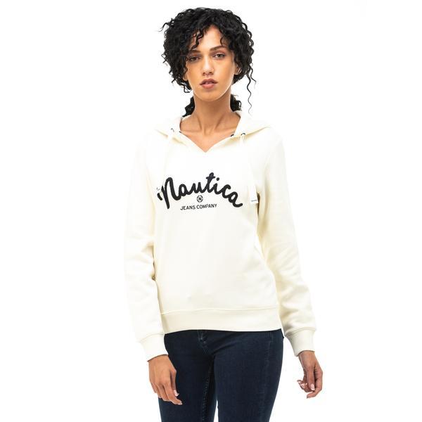 NAUTICA Kadın Krem Baskılı Sweatshirt
